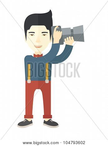 An Asian photographer holding a camera vector flat design illustration isolated on white background. Vertical layout.