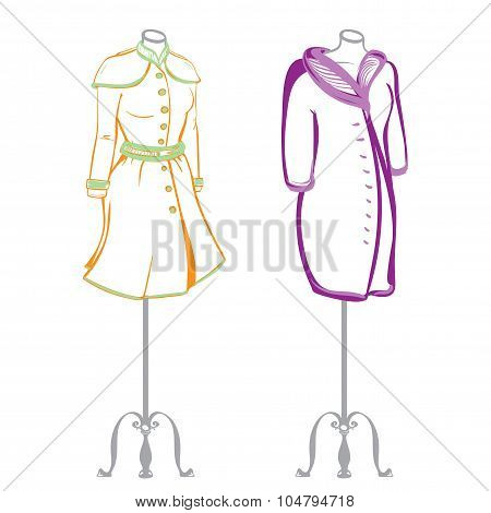 Short Women's Coat Wearing On Mannequins Made In Thumbnail Style