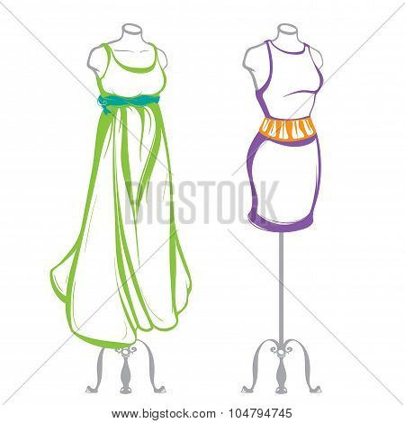 Short And Long Women's Dresses On Mannequins Dressed, Made In Thumbnail Style