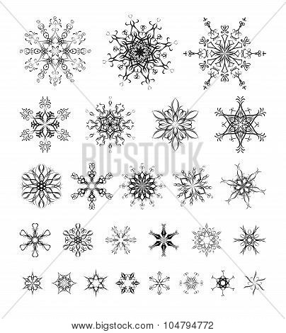 Vector Set Of Vintage Snowflakes For Your Winter Design.