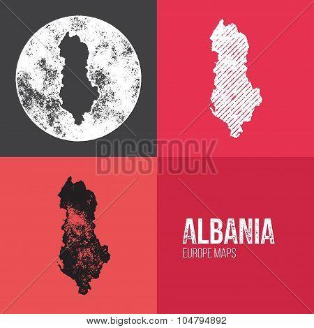 Albania Grunge Retro Map