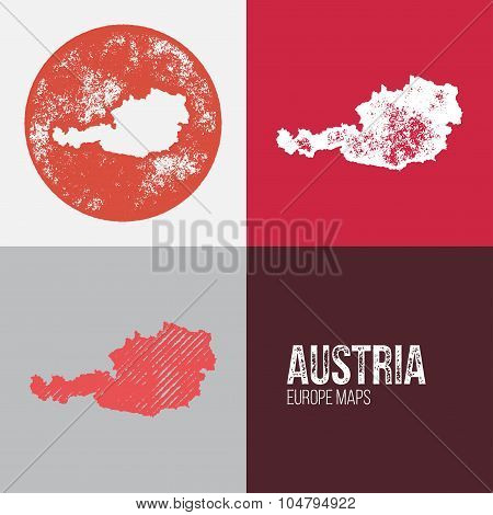 Austria Grunge Retro Map