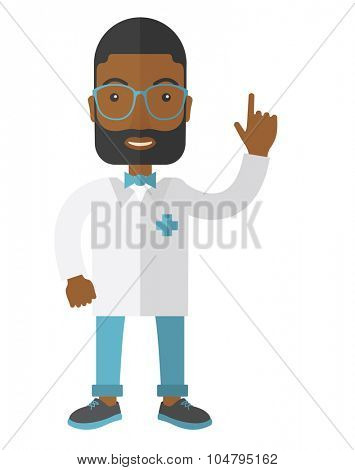A happy African American hipster doctor in glasses and medical gown showing finger up vector flat design illustration isolated on white background. Vertical layout.