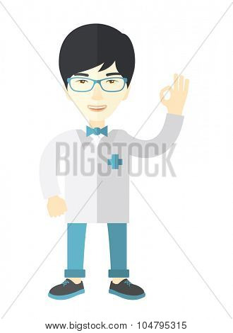 A friendly asian doctor in glasses and medical gown shows sign all ok vector flat design illustration isolated on white background. Vertical layout.
