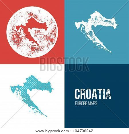 Croatia Grunge Retro Map