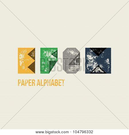 E F G H - Grunge Retro Paper Type Alphabet