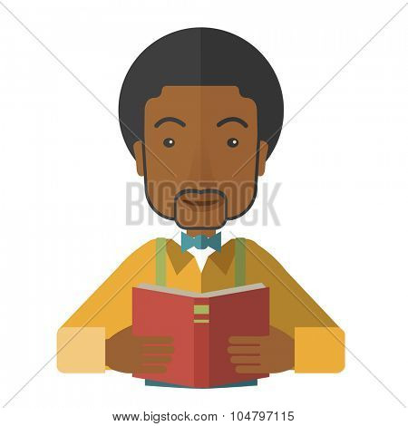 A African American doctor reading a book vector flat design illustration isolated on white background. Square layout.