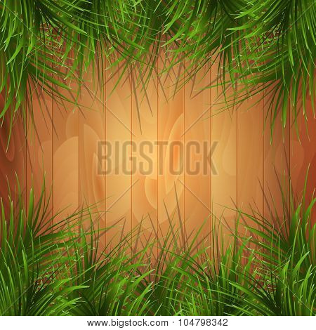 Wooden texture with green pine-needles