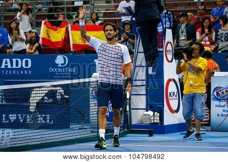 KUALA LUMPUR, MALAYSIA - OCTOBER 03, 2015: Spain's Feliciano Lopez acknowledges the crowd's cheers after winning the semi-final match at the 2015 Malaysian Open tennis tournament in Stadium Putra.