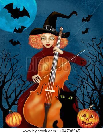 Witch Plays The Cello. Dark Forest. Flying Bats, Pumpkins, Cat.