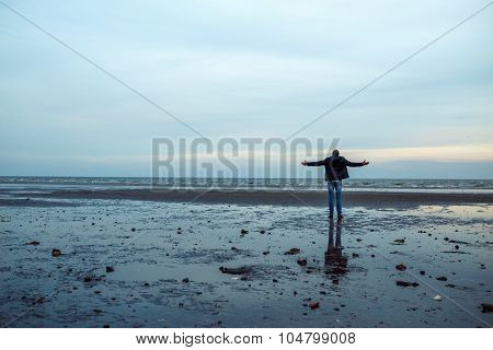 Man On The Shore Of Azov Sea