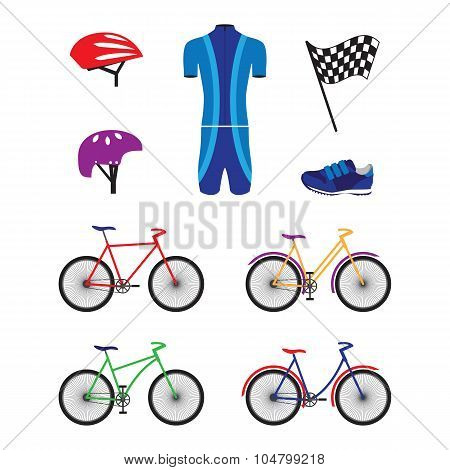 Bicycles And Sports Equipment For Cycling.
