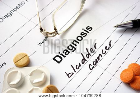 Diagnosis bladder cancer written in the diagnostic form.