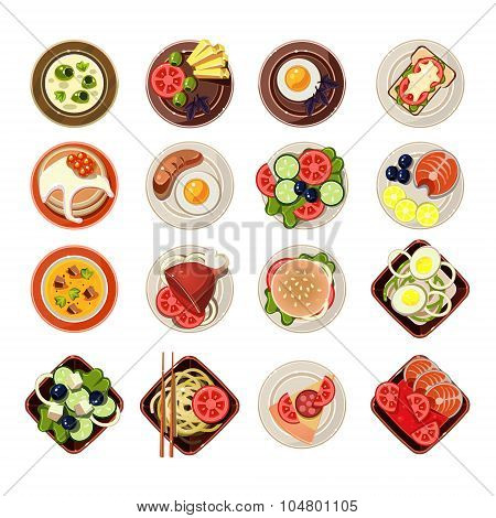 Set of Dishes with Various Food. Vector Illustration