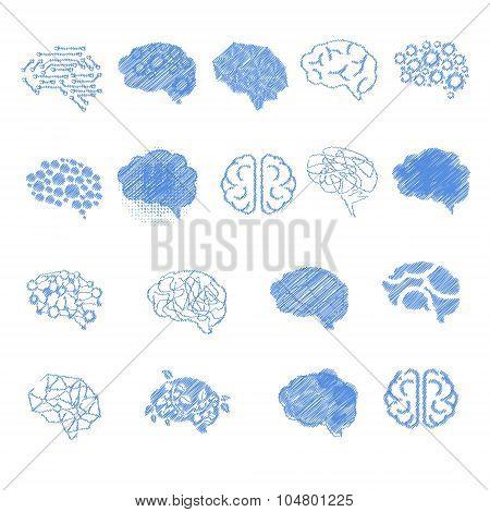 Brain Icon Set, Vector Illustration Set