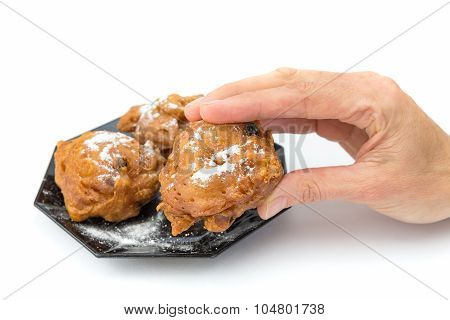 Hand Showing Dutch Oliebol Or Fritter