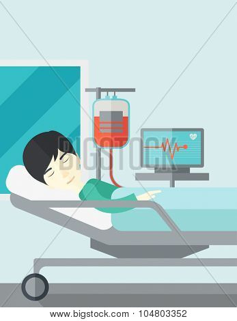 An Asian patient lying in hospital bed with heart rate monitor and drop counter vector flat design illustration. Vertical layout with a text space.
