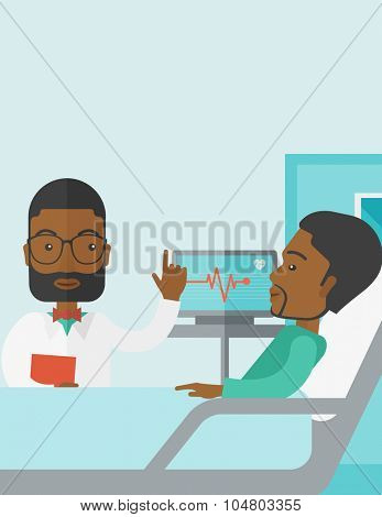 A smiling African American doctor visits a patient lying on hospital bed  vector flat design illustration. Vertical poster layout with a text space.