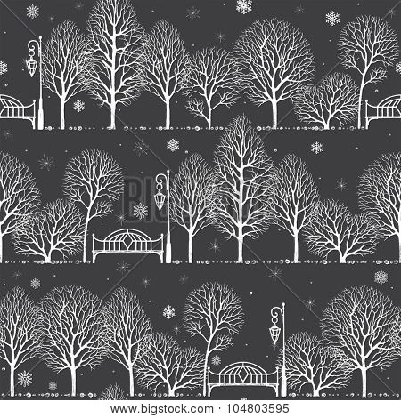 Winter landscape in the night park with silhouette of trees, benches and lanterns, seamless vector background in vintage style.