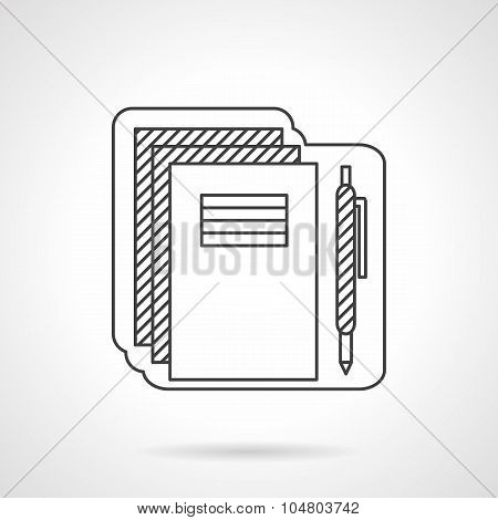 School supplies flat line vector icon.