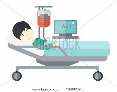 An Asian patient lying in hospital bed with heart rate monitor and drop counter isolated on white background. Horizontal layout.