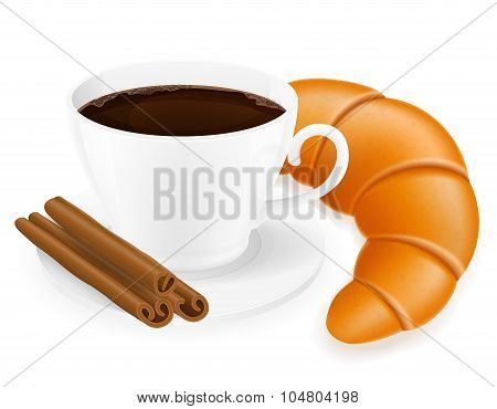 Cup Of Coffee And Croissant Vector Illustration