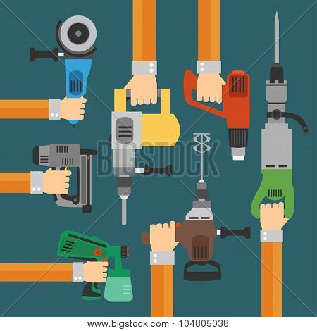 Builders Tools flat Modern background with hand