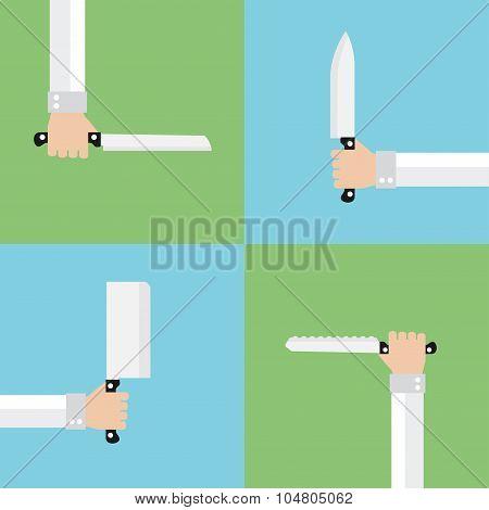 Kitchen knives flat set