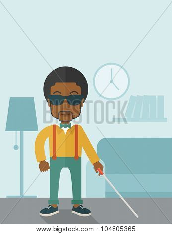 An African American blind man in dark glasses standing with walking stick inside the house vector flat design illustration. Vertical poster layout with a text space.
