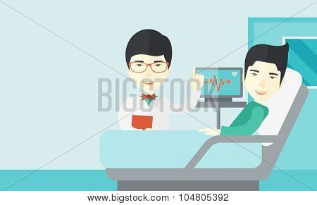 A smiling Asian doctor visits a patient lying on hospital bed  vector flat design illustration. Horizontal layout with a text space.