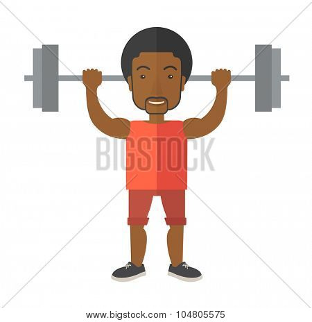 An African American man lifting a barbell vector flat design illustration isolated on white background. Sport concept. Square layout.