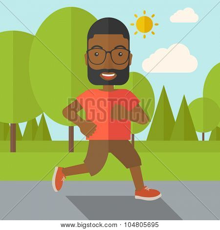 An african-american hipster man in glasses jogging in the park vector flat design illustration. Lifestyle concept. Square layout.