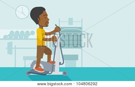 An African American man exercising on a elliptical machine in the gym vector flat design illustration. Horizontal layout with a text space.