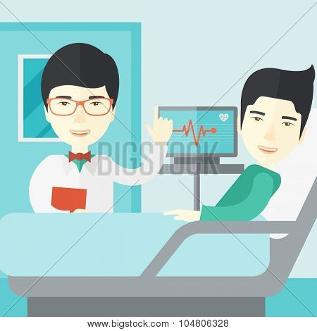 A smiling Asian doctor visits a patient lying on hospital bed  vector flat design illustration. Square layout.