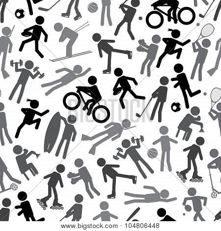 Sport Silhouettes Gray-scale Simple Icons Seamless Pattern Eps10