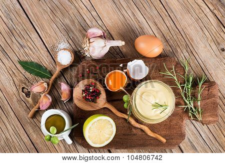 Mayonnaise And Ingredients, View From Above