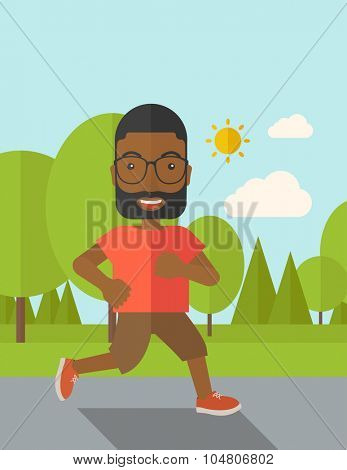 An African American hipster man in glasses jogging in the park vector flat design illustration. Lifestyle concept. Vertical layout with a text space.