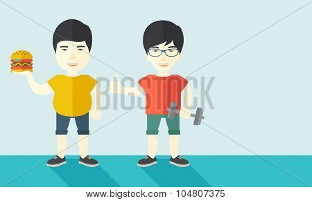 Thick Asian man standing with hamburger while slim asian man standing with dumbbell vector flat design illustration. Lifestyle concept. Horizontal layout with a text space.