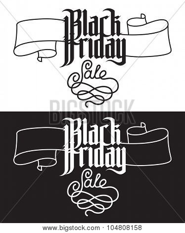 Black Friday Sale. Modern Gothic Style Font. Gothic letters with decoration elements