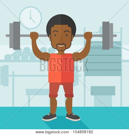 An african-american man lifting a barbell inside the gym vector flat design illustration. Sport concept. Square layout.