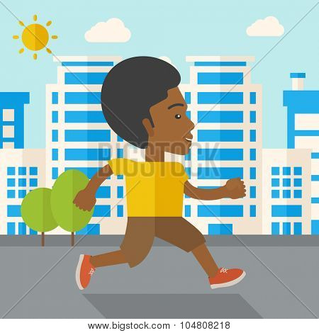 An african-american man jogging on street vector flat design illustration. Lifestyle concept. Square layout.
