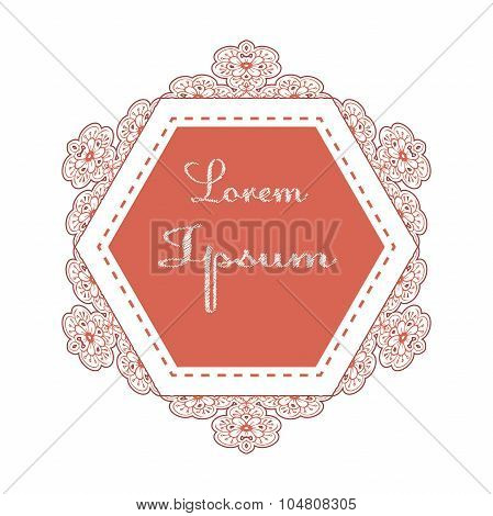 Decorative vector beautiful floral label.
