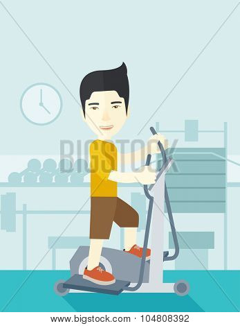 An asian man exercising on a elliptical machine in the gym vector flat design illustration. Vertical layout with a text space.