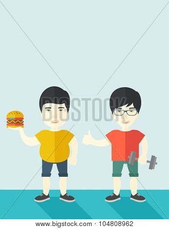 Thick asian man standing with hamburger while slim asian man standing with dumbbell vector flat design illustration. Lifestyle concept. Vertical layout with a text space.