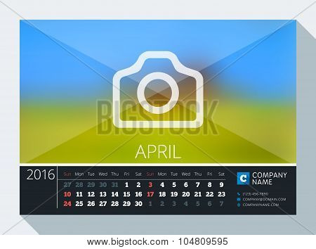 April 2016. Vector Stationery Design. Print Template. Desk Calendar For 2016 Year. Place For Photo,