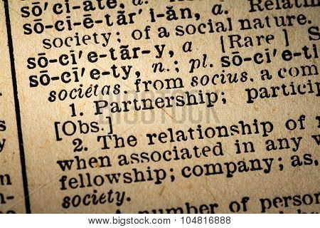 Close-up Of The Word Society And Its Definition