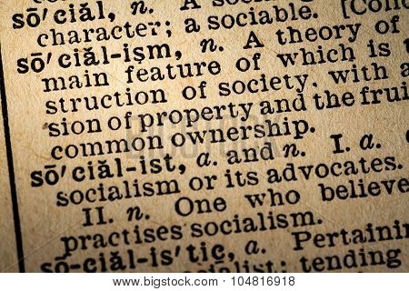 Close-up Of The Word Socialism And Its Definition