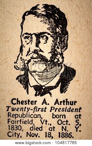 Chester A. Arthur The 21St President Of The United State Of America Drawing And Little Historical Te