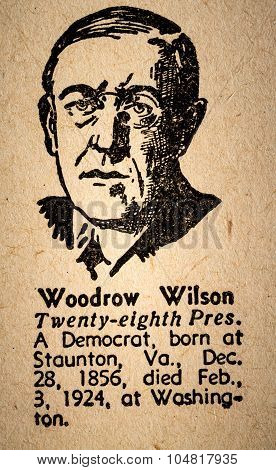 Woodrow Wilson The 28Th President Of The United State Of America Drawing And Little Historical Text.
