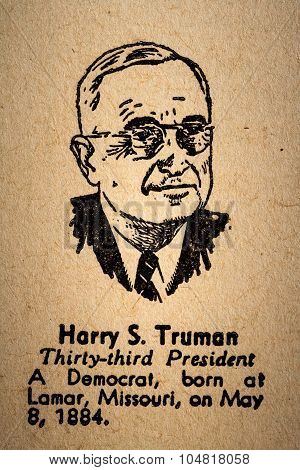 Harry S. Truman The 33Rd President Of The United State Of America Drawing And Little Historical Text